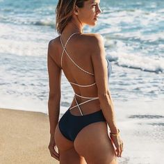 Summer Sexy Bandage One-piece Swimsuit bikini Lace Up Backless Women Swimwear Bathing Suits Push Up Swimming Suit Monokini Sexy Bikini, Lace Bikini, Bikini Girls, Bikini Swimsuit, Bikini 2018, Thong Bikini, Halter Bikini, Backless One Piece Swimsuit, One Piece Swimwear