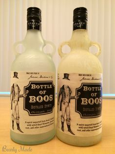 """This post is about a """"Bottle of Boos"""" I created for Halloween. This post covers how to drill the hole, frost the glass, and install the lights. Potion Bottle, Vodka Bottle, Bottle Lights, Favorite Holiday, Halloween Crafts, Bottles, Glass, Diy, Drinkware"""