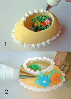 How to Make Panoramic Sugar Easter Eggs: A Step-by-Step Photo Guide: Decorate the Outside of the Egg This step-by-step photo tutorial shows how to make panoramic sugar eggs for Easter, a fun activity to do for the holiday. Panoramic Sugar Easter Eggs, Sugar Eggs For Easter, Easter Egg Crafts, Easter Bunny, Bunny Bunny, Easter Decor, Spring Recipes, Easter Recipes, Easter Ideas