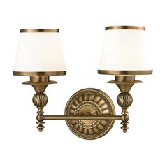 "View the Elk Lighting 11611/2 Smithfield 2 Light 16"" Vanity Fixture with Frosted Glass Shade at LightingDirect.com."