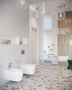 This fresh and bright bathroom is for two children.