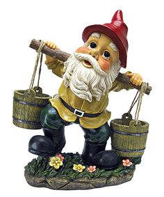 Barney Two-Buckets Garden Gnome Statue