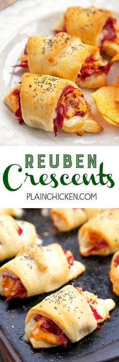 Reuben Crescents - Corned Beef, sauerkraut, swiss cheese, thousand island dressing wrapped in crescent rolls and baked. SO good! Ready in under 20 minutes! Great for a quick lunch or dinner.
