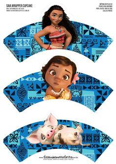 Moana Baby Cupcakes: Free Printable Wrappers and Toppers. Moana Birthday Party Theme, Moana Party, 2nd Birthday, Chris Williams, Disney Printables, Free Printables, Cupcakes Moana, Disney Animation Studios, Bolo Moana