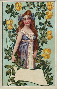Art Nouveau Lady Label