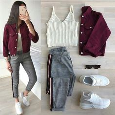 Set of Denim jacket + stripe pant + tee Size available till xl For prices kind… - Party Outfits Cute Fall Outfits, Girl Outfits, Party Outfits, Stylish Dresses, Stylish Outfits, Winter Fashion Outfits, Fashion Dresses, Terno Casual, Everyday Outfits