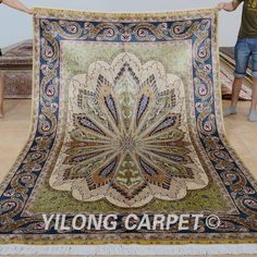 Yilong 6'x9' Turkish silk carpet vantage traditional silk hand knotted rugs (0733)