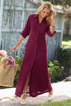 Divine Linen Dress - Long Button Down Dress, Dresses   Soft Surroundings