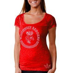 adidas Wisconsin Badgers Women's Homesick Burnout T-Shirt - Cardinal - $27.54