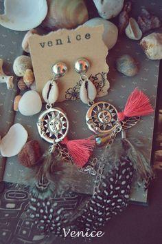 Orecchini boho con piume/orecchini sole/orecchini di VeniceStyle