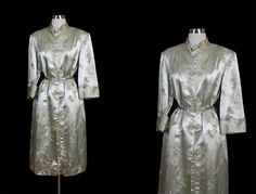 Vintage 50s 60s Satin Chinese Silk Blend Party Coat Dress | eBay