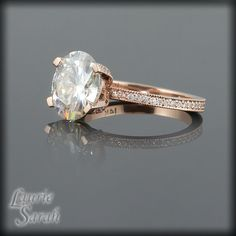 Oval Moissanite and Diamond Solitaire by LaurieSarahDesigns