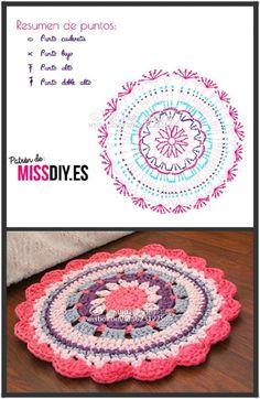 Best 12 mandalas a crochet patrones – SkillOfKing. Crochet Mat, Crochet Carpet, Crochet Mandala Pattern, Crochet Circles, Crochet Blocks, Crochet Cross, Crochet Diagram, Crochet Home, Thread Crochet