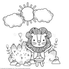 Happy Lion In The Forest Coloring Pages Free Instant Download Coloringbook Coloringpages Animal