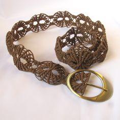 "Macrame belt ""Forest Lace"" openwork handmade braided brown belt. $75.00, via Etsy."