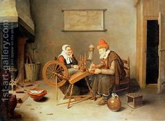 An interior with a old woman at a spinning wheel, 1657 by Quiringh Gerritsz. van Brekelenkam