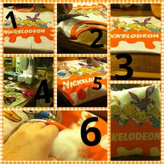 Nickelodeon rewind tshirt pillow!  1. Get shirt 2. Cut out design for pillow shape 3. Line up fabric & turn inside out 4. See all side together but one spot to stuff 5. Stuff pillow to your liking 6. Sew the whole up TADA!!! Enjoy your unique pillow! :)