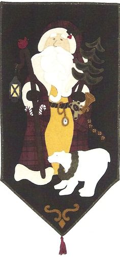 Primitive Folk Art Wool Applique Pattern:  BEARLY CHRISTMAS - Etsy