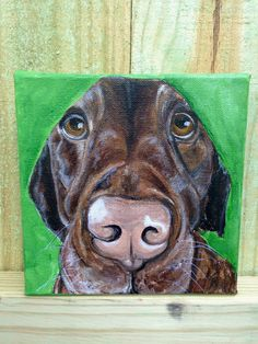 """6""""x6"""" Hand Painting of Chocolate Lab. From """"ready to adopt"""" series.  Available for purchase and ready to ship fromhttp://www.etsy.com/shop/JosieBloomArt"""