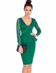 f74c72eda2e NEM065 Long sleeve peplum dress Deep V neck sexy lace dress plus size  elegant wear to work bodycon dress hot Women midi dress