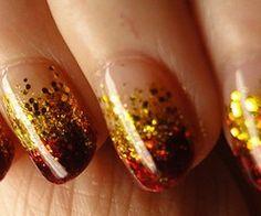 Garnet and Gold nails