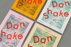 """Tropical - Dan Shake posters by Warriors Studio """"Posters for Glasgow club promoter, Tropical's 4th party.3-layer risograph prints on a selection of 120gsm uncoated stocks by Risotto Studio.Guests include London-based Dan Shake of Moodymann's prestigious, Detroit record-label, Mahogani Music and resident Ally Tropical."""" Warriors Studio is a graphic design and creative agency based in Glasgow, founded by James Gilchrist and Beth Wilson.Strong concept, simplicity and clarity are ..."""
