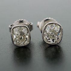 A Brandt and Son - Art Deco Platinum Cushion Cut Diamond Stud Earrings 1.50ctw