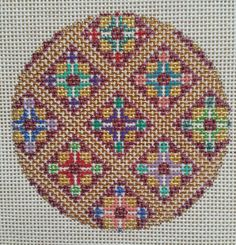 Beautiful Hand Painted HP Ornament Needlepoint Canvas 18 mesh Geometric  #TEW