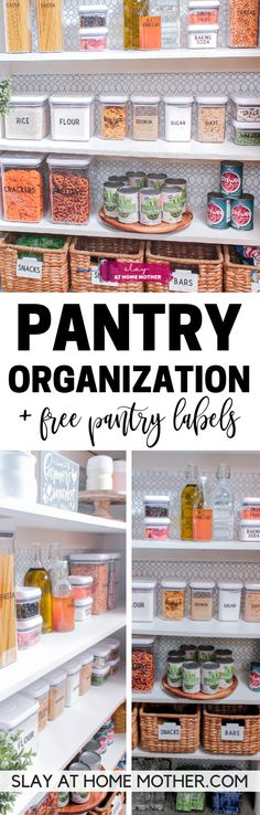Small Pantry Organization On A Budget Small Pantry Organization + FREE Pantry labels Pantry Organization Labels, Pantry Labels, Organization Ideas, Classroom Organization, Food Canisters, Expired Food, Thing 1, Kitchen Pantry, Kitchen Storage