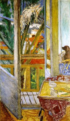 urgetocreate: Pierre Bonnard, The Door Window with Dog, 1927 Who else would stick a dog on the edge of a painting. There's always a dog somewhere you least expect it.