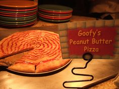 Goofy's Kitchen Peanut Butter & Jelly Pizza.  Only in Disneyland.  Us WDW people are being gipped!