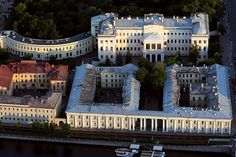 Aerial view of Anichkov Palace (1741-1754), St Petersburg - A present from Tsarina Elizabeth to her lover Aleksey Razumovsky. After his death in 1771, the palace returned to the crown & Catherine the Great donated the palace to Prince Potemkin in 1776. The St. Petersburg residence of future Alexander III and his family and would continue to be there presence over the Winter Palace, even after he became Tsar in 1881. The birthplace of Tsar Nicholas II.