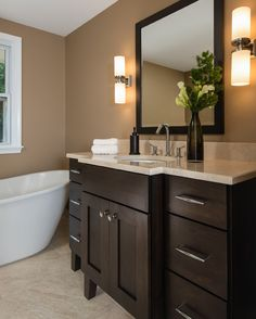 4 Splendid Simple Ideas: Bathroom Remodel Cabinets Tubs bathroom remodel with window walk in.Mobile Home Bathroom Remodel Cases hall bathroom remodel farmhouse style. Shower Remodel Cost, Guest Bathroom Remodel, Bath Remodel, Kitchen Remodel, Floating Shelves Bathroom, Revere Pewter, Simple Bathroom, Home Remodeling, Bathroom Remodeling