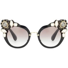 Miu Miu Embellished Cat-Eye Sunglasses (575 CAD) ❤ liked on Polyvore featuring accessories, eyewear, sunglasses, glasses, miu miu, black, embellished sunglasses, cat-eye glasses, miu miu eyewear and cat eye sunnies