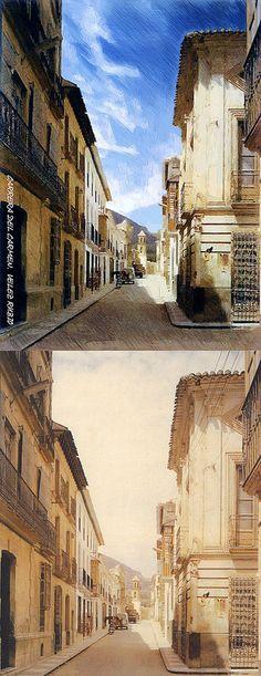 Restauración fotográfica de imagen histórica de Velez-Rubio, Almería. Además de añadir color y sustituir el cielo, se aplica un filtro lápiz para su posterior reproducción en gran formato. Visitanos en artialia.com