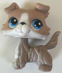 Littlest Pet Shop Collie Dog Brown Tan White 67 Blue Eyes RARE | eBay