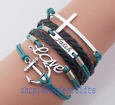 http://www.beautifulseasondiy.com/ Anchor bracelet love bracelet faith bracelet cross charm black leather dark green rope man bracelet women jewelry sailor Sailing Wholesale by APerfectGifts, $5.99