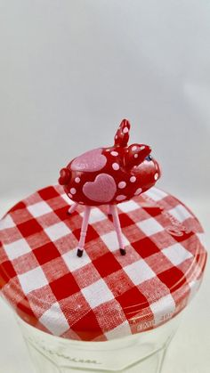 Items similar to Mini Smiling Pig Sparkly Red with 3 Pink Hearts and Pink Polka-Dots and Pink Legs on Etsy
