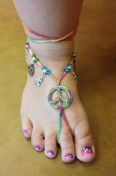 Rainbow Peace Sign Barefoot Sandals by YumaDesertFairy on Etsy, $35.00