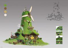 ArtStation - 《Hobbiton Lodge》, G xy Bg Design, Prop Design, Game Design, Fantasy Landscape, Fantasy Art, Espace Design, Cartoon House, Building Concept, Game Concept Art