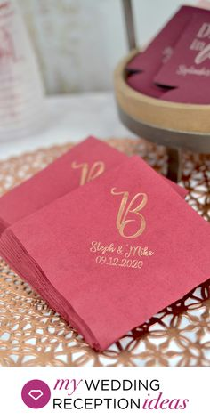 Personalized Luncheon Napkins for Wedding cake and desserts - Use 6 1/2 inch square luncheon napkins on your wedding reception buffet table and for serving cake and other wedding reception desserts. #weddingnapkins #wedingcake