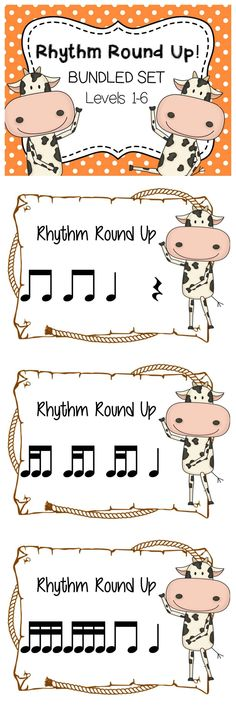 Rhythm Round Up- BUNDLED SET. Fun game to practice rhythms in elementary music class. Each set come with standard notation (with note heads) and in stick notation (without note heads). Simply print, laminate, cut and PLAY!