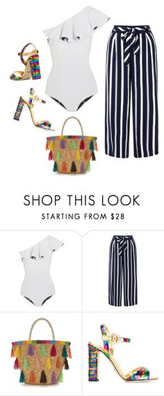 """""""Ruffe One-Piece"""" by cherieaustin on Polyvore featuring Lisa Marie Fernandez, Monsoon and Dolce&Gabbana"""