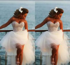 $174.9-Sexy High Low Pearl Beaded Tulle 2014 Ball Gown Wedding Dresses