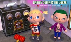 Joker and Harley Quinn cosplay QR for ACNL - Animal Crossing New Leaf / Suicide Squad