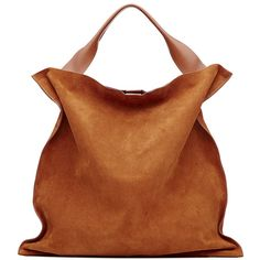 Jil Sander Suede Tote ($395) ❤ liked on Polyvore featuring bags, handbags, tote bags, camel, brown handbags, tote handbags, brown tote, man bag and suede handbags