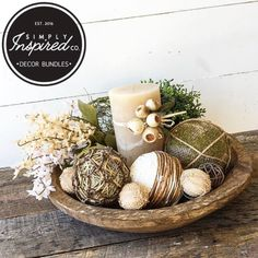 """83 Likes, 1 Comments - Simply Inspired, Mike & Patti (@thesimplyinspiredshop) on Instagram: """"I just listed this decor bundle in our Etsy Shop the dough bowl is 16"""" round and filled with all…"""""""