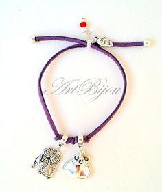 Bettelarmbänder - Adjustable Zamak Purple Leather Bracelet, Women - ein Designerstück von ArtBijou bei DaWanda