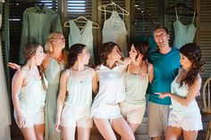 bridal party nonsense shot   Betsy Johnson bridal PJs on bride; maids (and man of honour) tanks, tee, and shorts from Old Navy   #gettingready #weddingcandids #bestfriends   photos by April Bennett Photography @aprilbenphoto
