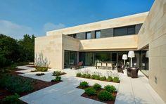 house exterior design ideas slabs low shrubs patio furniture Casa Bilbaina
